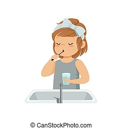 Cute little girl brushing her teeth, kid caring for teeth in bathroom vector Illustration on a white background