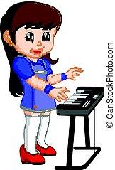 Cute little girl cartoon playing piano