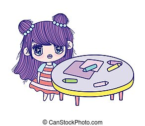 cute little girl cartoon with table crayons and paper