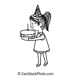 cute little girl character with cake