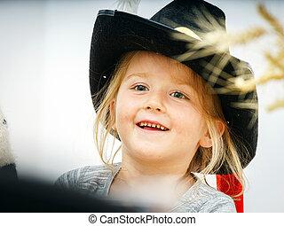 Cute little girl closeup portrait