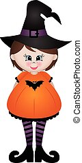 Cute little girl dressed as a witch
