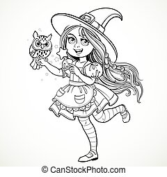 Cute little girl dressed as witch with a owl and magic wand standing on a white background outline for coloring