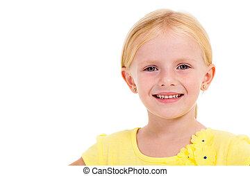 cute little girl face closeup portrait