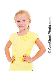 cute little girl half length isolated on white