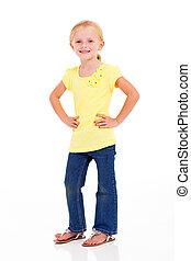 cute little girl hands on waist full length portrait