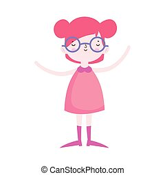 cute little girl happy with glasses cartoon character