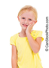 cute little girl having toothache