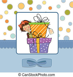 cute little girl hidden behind boxes of gifts. happy...
