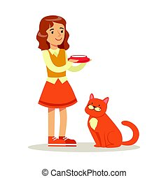 Cute little girl holding a bowl with milk and red cat sitting next to her. Colorful cartoon character vector Illustration