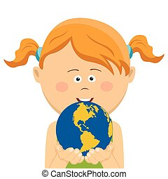 Cute little girl holding and offering planet earth, symbol of environmental conservation, isolated on white background