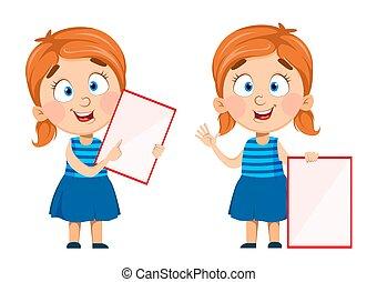 Cute little girl holding blank placard