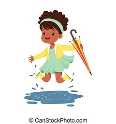 Cute little girl holding colorful umbrella and playing in the rain cartoon vector Illustration