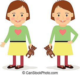 Cute little girl holding teddy bear