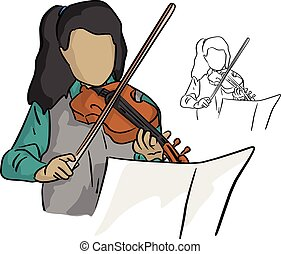 Cute little girl in a beautiful dress playing violin vector illustration sketch doodle hand drawn with black lines isolated on white background