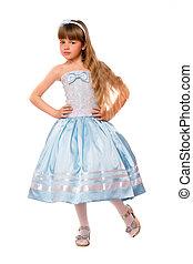 Cute little girl in a blue dress