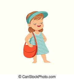 Cute little girl in a blue visor standing with bag, kid playing at the beach, happy infants outdoor activity on summer vacations vector Illustration