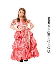 Cute little girl in a long dress