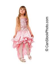 Cute little girl in a pink dress