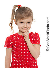 Cute little girl in a red blouse