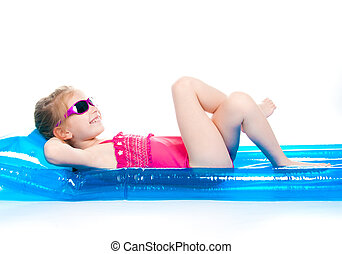 cute little girl in a swimming suit
