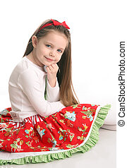 Cute little girl in Christmas wear - Adorable preschool girl...