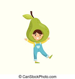 Cute little girl in fruit headwear. Adorable child dressed as green pear. Kid with cheerful face expression. Flat vector icon