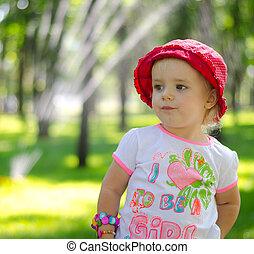 Cute Little Girl in Park, Outdoor