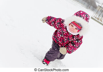 Cute little girl in snow