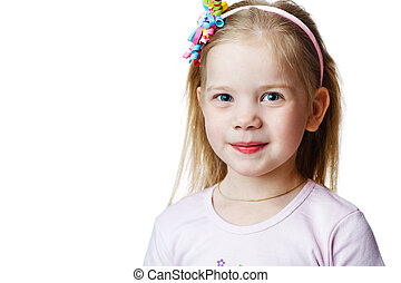 cute little girl in studio on white background