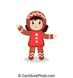 Cute little girl in the costume of Gingerbread, kid in...