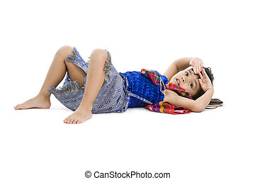 Cute Little Girl Laying On The Floor