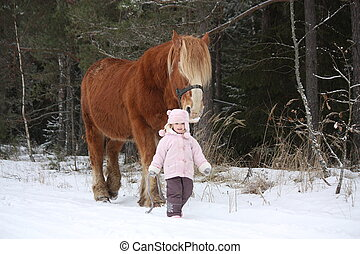 Cute little girl leading big draught horse in winter - Cute...