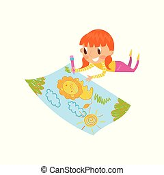 Cute little girl lying on her stomach and drawing with color pencils on the large sheet of paper, young artist, kids activity routine vector Illustration