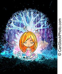 Cute little girl meditating in front of magic surreal tree. Grunge vector illustration. Suits for poster or book cover