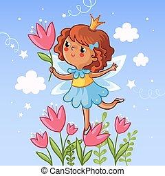 Cute little girl on a flower.