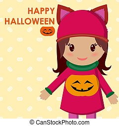 cute little girl on a holiday halloween and in a blouse with a pumpkin. Vector