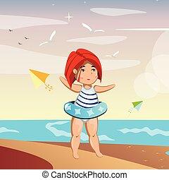 Cute little girl on beach