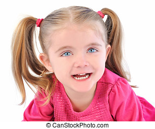 Cute Little Girl on White Isolated Background - A cute...