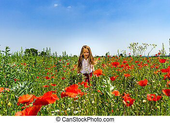 Cute little girl playing in red poppies field summer day, beauty and happiness