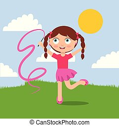 cute little girl playing jump with ribbon in the park