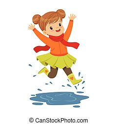 Cute little girl playing on a puddle wearing rubber boots cartoon vector Illustration
