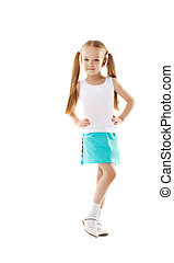 Cute little girl posing in casual clothes