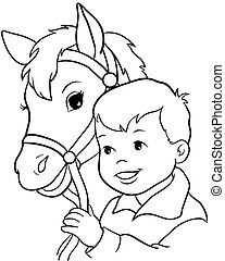 Cute little girl riding a horse. Vector illustration 10 EPS...