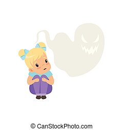 Cute little girl scared of ghosts, kids imagination concept vector Illustration on a white background