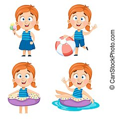 Cute little girl, set of four poses