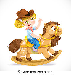 Cute little girl sits on the toy rocking horse