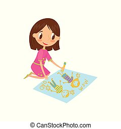 Cute little girl sitting on the floor and drawing with color pencils on the large sheet of paper, young artist, kids activity routine vector Illustration