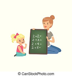 Cute little girl sitting on the floor and writing mathematical examples, teacher holding small blackboard and helping her, math class in primary school, preschool education vector Illustration