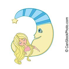 Cute little girl sleeping on moon